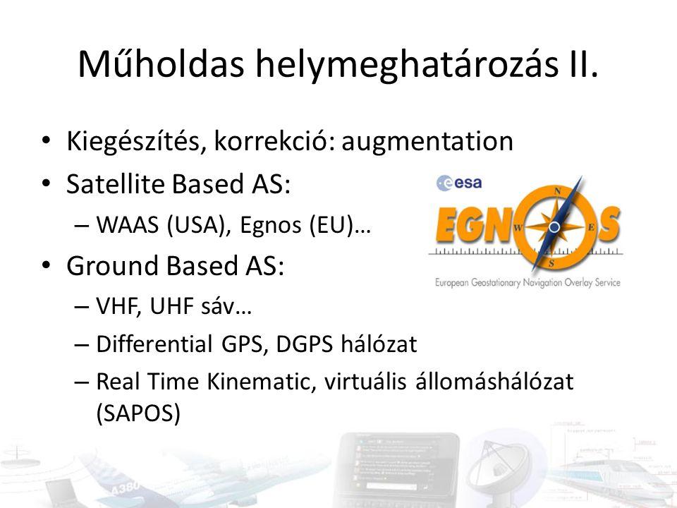 Műholdas helymeghatározás II. Kiegészítés, korrekció: augmentation Satellite Based AS: – WAAS (USA), Egnos (EU)… Ground Based AS: – VHF, UHF sáv… – Di