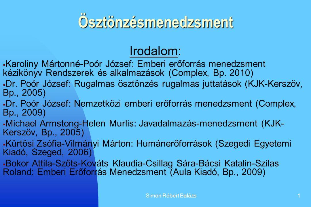 Simon Róbert Balázs1 Ösztönzésmenedzsment Irodalom:  Karoliny Mártonné-Poór József: Emberi erőforrás menedzsment kézikönyv Rendszerek és alkalmazások