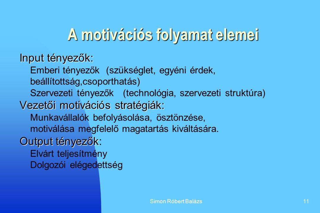 Simon Róbert Balázs11 A motivációs folyamat elemei Input tényezők: Emberi tényezők (szükséglet, egyéni érdek, beállítottság,csoporthatás) Szervezeti t