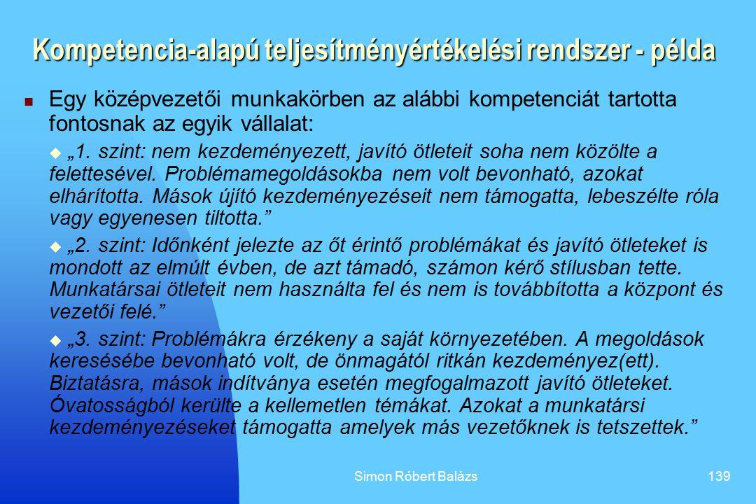 Simon Róbert Balázs139 Kompetencia-alapú teljesítményértékelési rendszer - példa Egy középvezetői munkakörben az alábbi kompetenciát tartotta fontosna