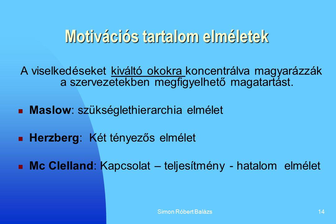 Simon Róbert Balázs14 Motivációs tartalom elméletek A viselkedéseket kiváltó okokra koncentrálva magyarázzák a szervezetekben megfigyelhető magatartás