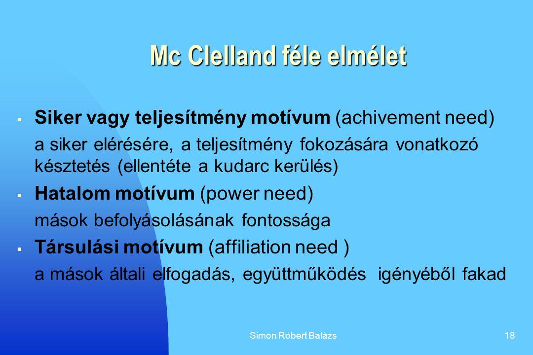 Simon Róbert Balázs18 Mc Clelland féle elmélet  Siker vagy teljesítmény motívum (achivement need) a siker elérésére, a teljesítmény fokozására vonatk