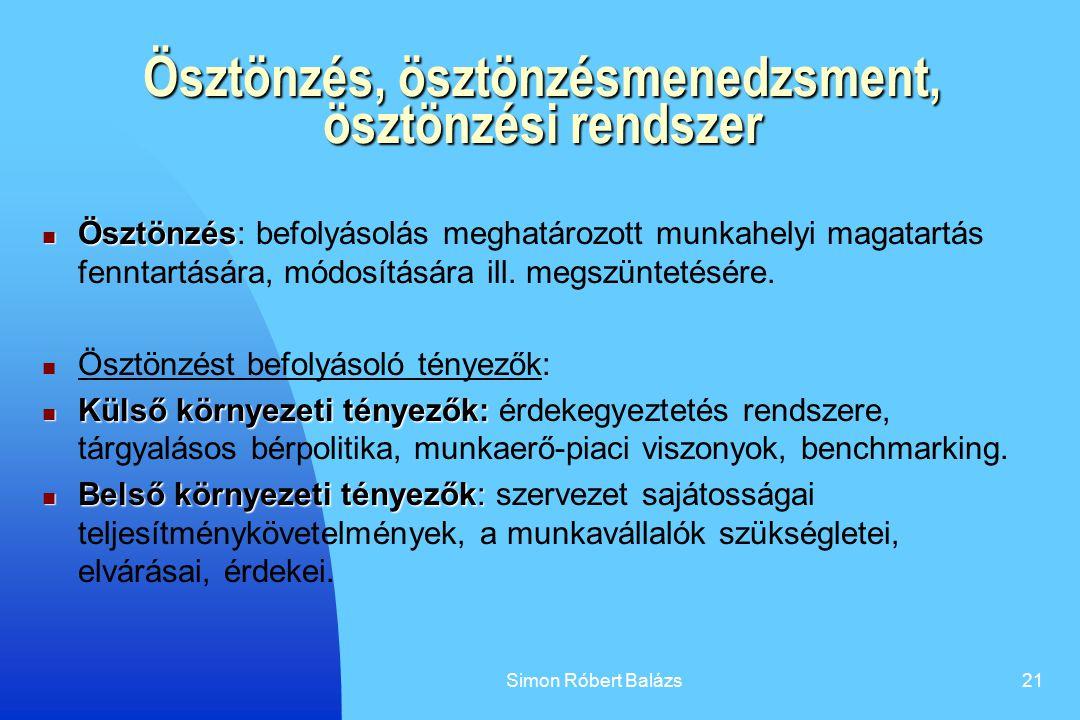 Simon Róbert Balázs21 Ösztönzés, ösztönzésmenedzsment, ösztönzési rendszer Ösztönzés Ösztönzés: befolyásolás meghatározott munkahelyi magatartás fennt