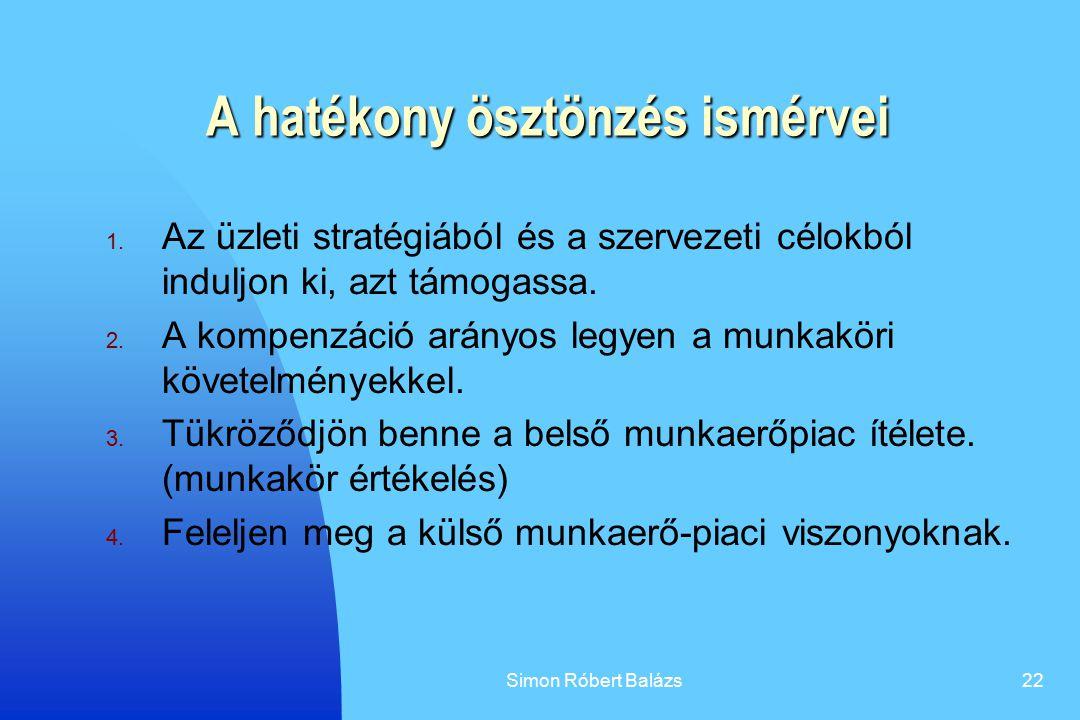 Simon Róbert Balázs22 A hatékony ösztönzés ismérvei 1. Az üzleti stratégiából és a szervezeti célokból induljon ki, azt támogassa. 2. A kompenzáció ar