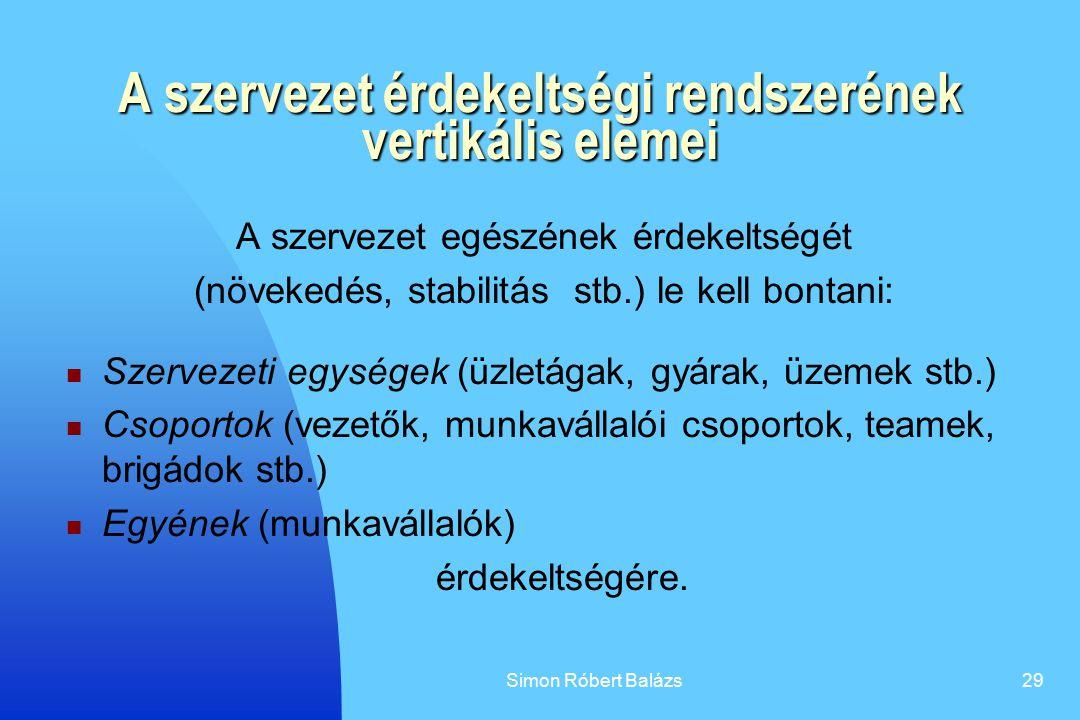 Simon Róbert Balázs29 A szervezet érdekeltségi rendszerének vertikális elemei A szervezet egészének érdekeltségét (növekedés, stabilitás stb.) le kell