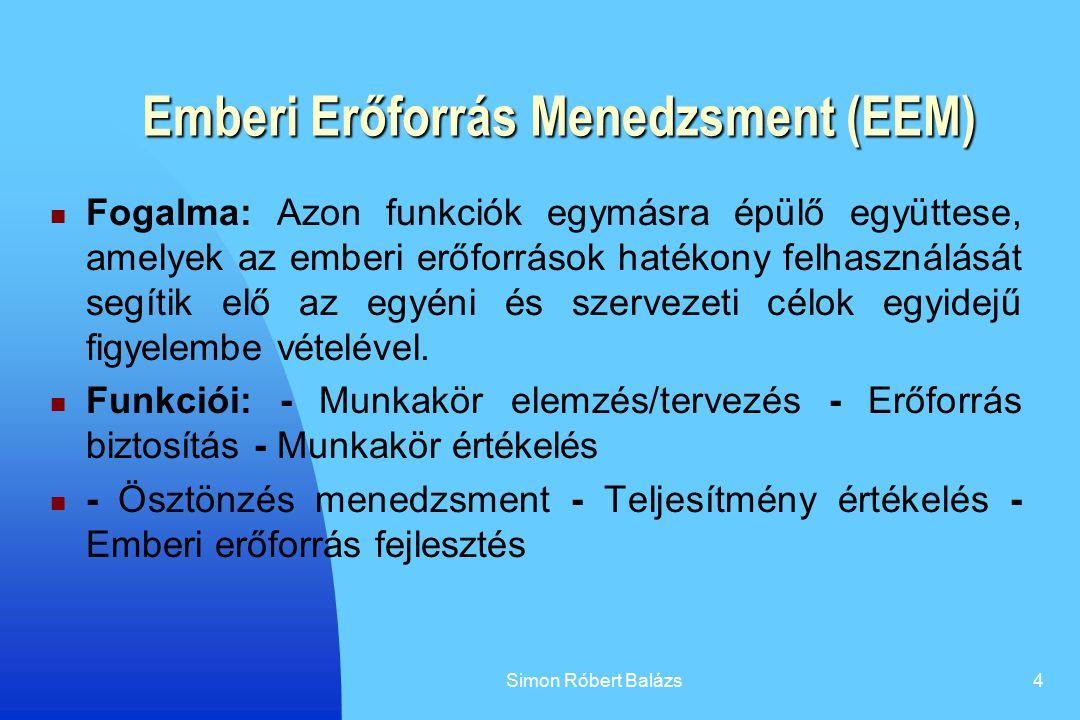 Simon Róbert Balázs4 Emberi Erőforrás Menedzsment (EEM) Fogalma: Azon funkciók egymásra épülő együttese, amelyek az emberi erőforrások hatékony felhas