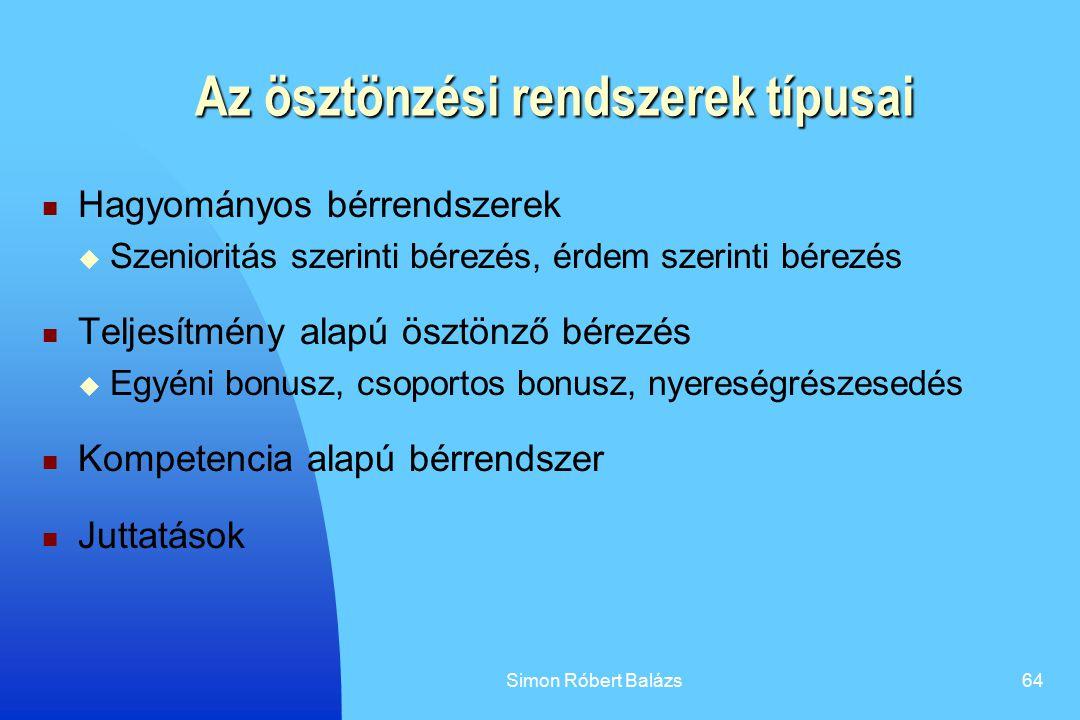 Simon Róbert Balázs64 Az ösztönzési rendszerek típusai Hagyományos bérrendszerek  Szenioritás szerinti bérezés, érdem szerinti bérezés Teljesítmény a