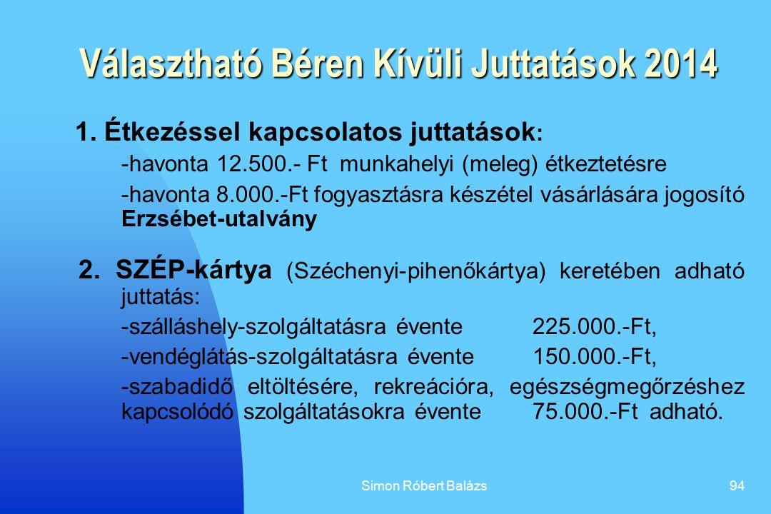 Simon Róbert Balázs94 Választható Béren Kívüli Juttatások 2014 1. Étkezéssel kapcsolatos juttatások : -havonta 12.500.- Ft munkahelyi (meleg) étkeztet