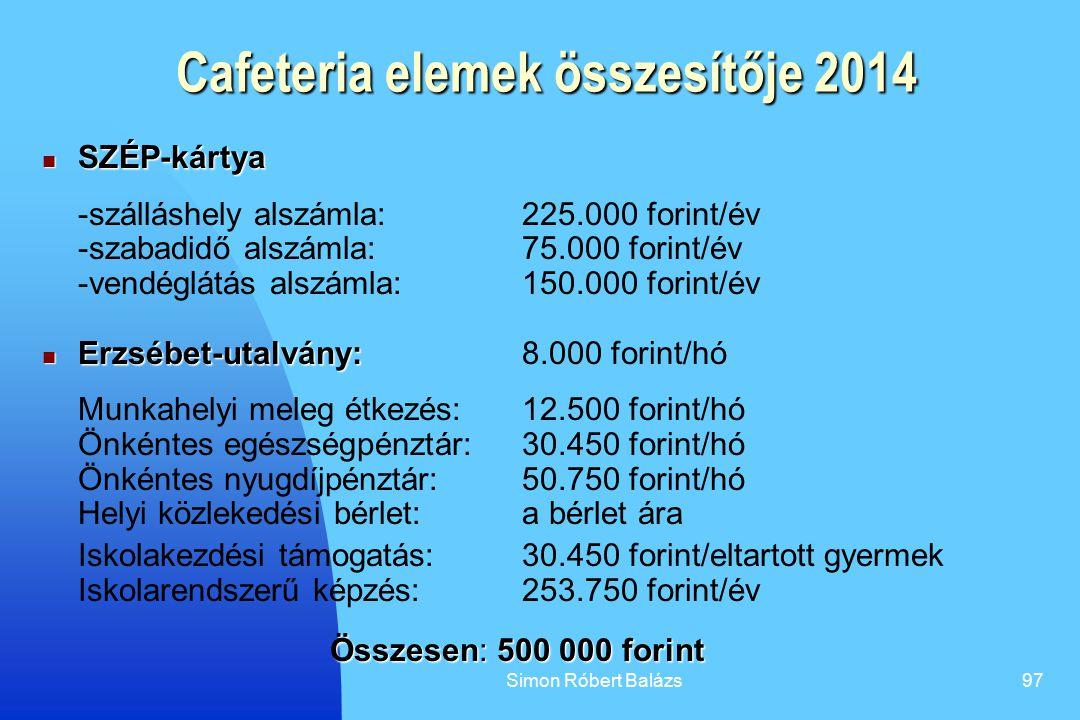 Simon Róbert Balázs97 Cafeteria elemek összesítője 2014 SZÉP-kártya SZÉP-kártya -szálláshely alszámla: 225.000 forint/év -szabadidő alszámla: 75.000 f