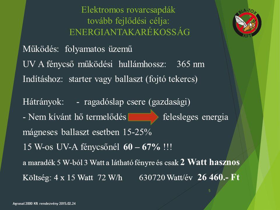 Elektromos rovarcsapdák tovább fejlődési célja: ENERGIANTAKARÉKOSSÁG Működés:folyamatos üzemű UV A fénycső működési hullámhossz:365 nm Indításhoz: sta