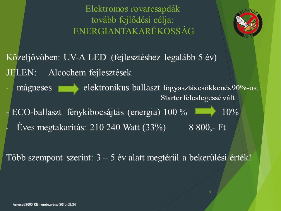 Elektromos rovarcsapdák tovább fejlődési célja: ENERGIANTAKARÉKOSSÁG Közeljövőben: UV-A LED (fejlesztéshez legalább 5 év) JELEN:Alcochem fejlesztések