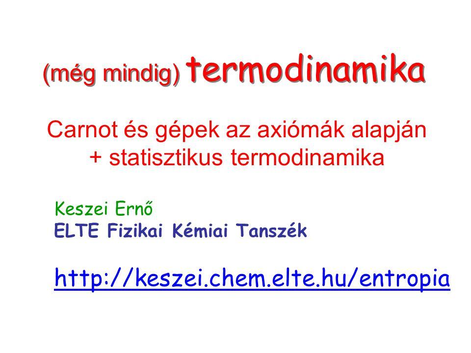 Címlap (még mindig) termodinamika Carnot és gépek az axiómák alapján + statisztikus termodinamika Keszei Ernő ELTE Fizikai Kémiai Tanszék http://kesze