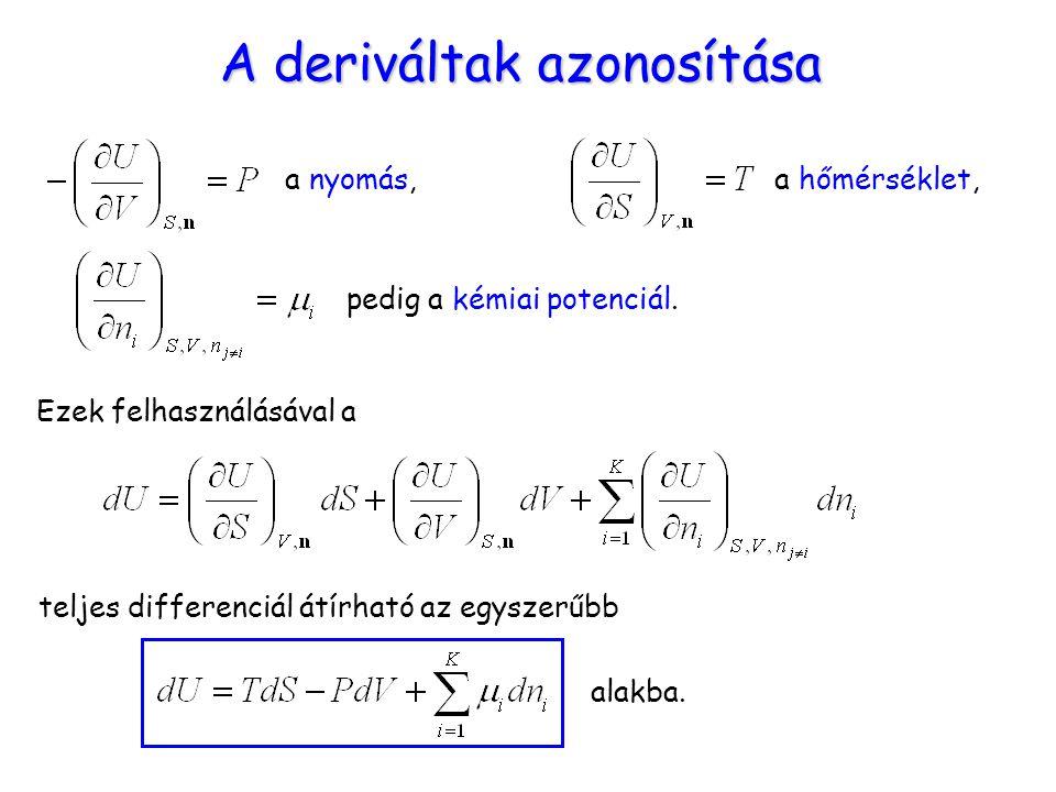 A deriváltak azonosítása a nyomás, a hőmérséklet, pedig a kémiai potenciál. Ezek felhasználásával a teljes differenciál átírható az egyszerűbb alakba.
