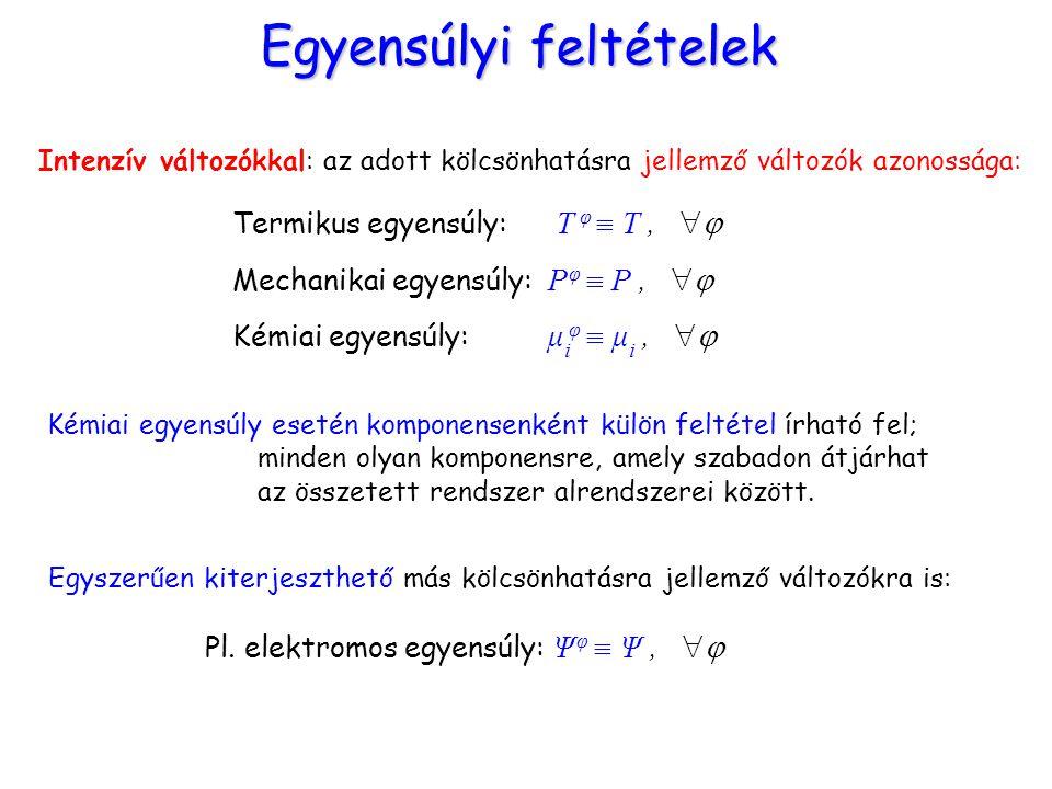 Egyensúlyi feltételek Intenzív változókkal: az adott kölcsönhatásra jellemző változók azonossága: Termikus egyensúly: T φ  T,  Mechanikai egyensúly