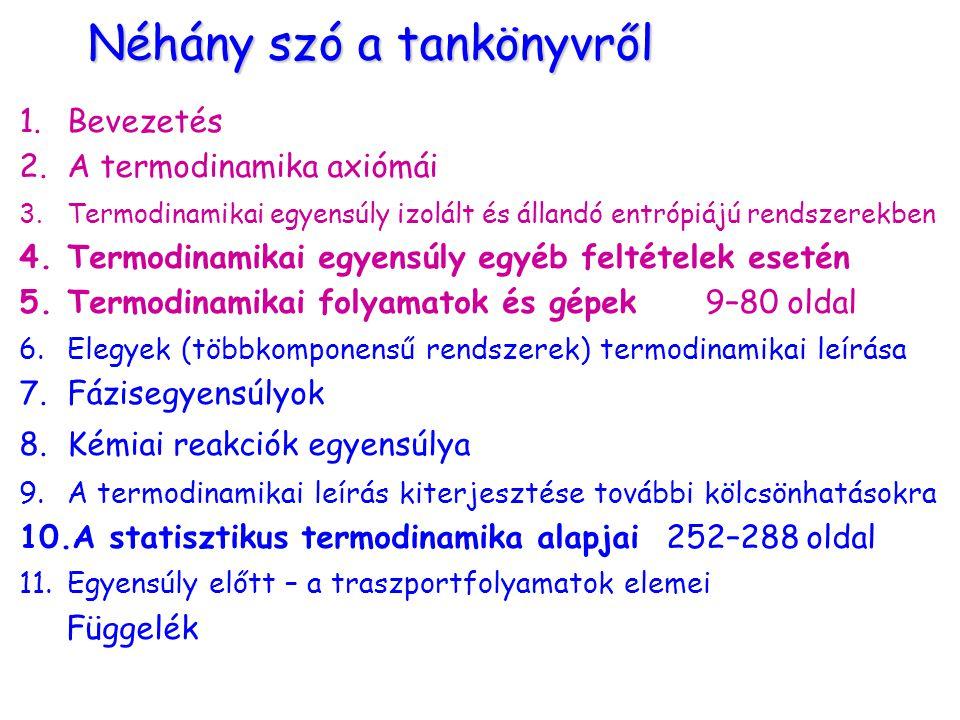 Néhány szó a tankönyvről 1.Bevezetés 2.A termodinamika axiómái 3.Termodinamikai egyensúly izolált és állandó entrópiájú rendszerekben 4.Termodinamikai