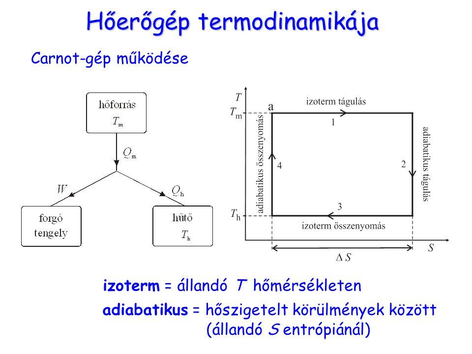 Hőerőgép termodinamikája Carnot-gép működése izoterm = állandó T hőmérsékleten adiabatikus = hőszigetelt körülmények között (állandó S entrópiánál)