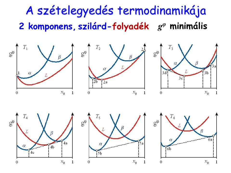 A szételegyedés termodinamikája 2 komponens, szilárd-folyadék g φ minimális