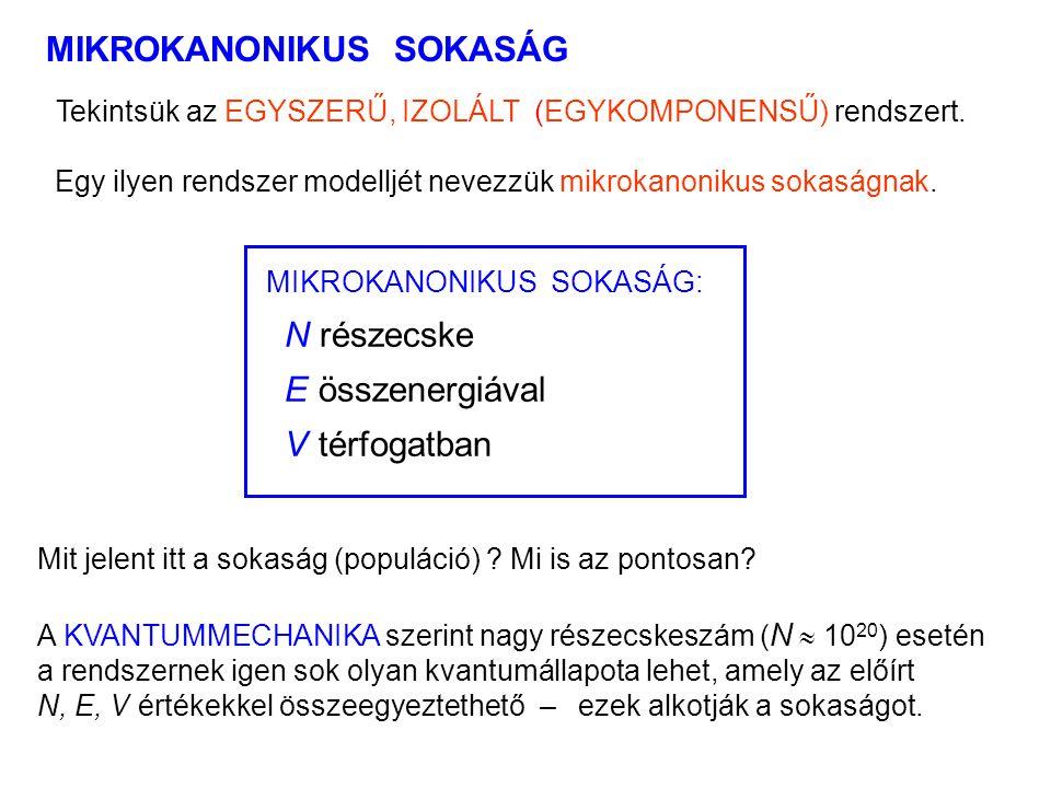MIKROKANONIKUS SOKASÁG 1 MIKROKANONIKUS SOKASÁG: N részecske E összenergiával V térfogatban Tekintsük az EGYSZERŰ, IZOLÁLT (EGYKOMPONENSŰ) rendszert.