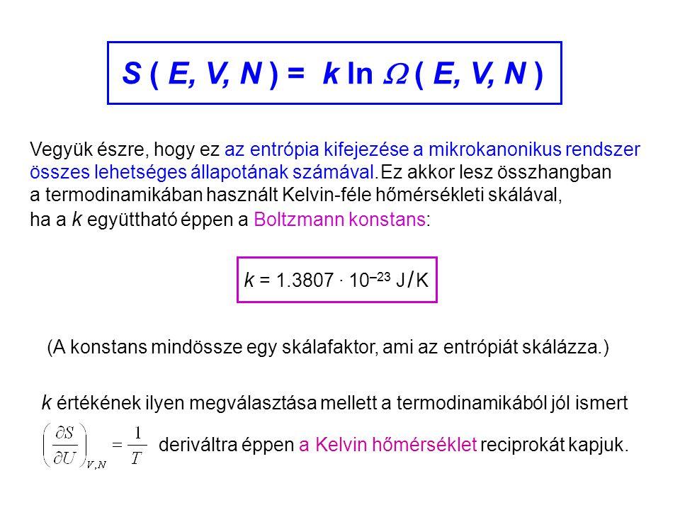 Mikrokanonikus entrópia 3 Vegyük észre, hogy ez az entrópia kifejezése a mikrokanonikus rendszer összes lehetséges állapotának számával. k = 1.3807 ·