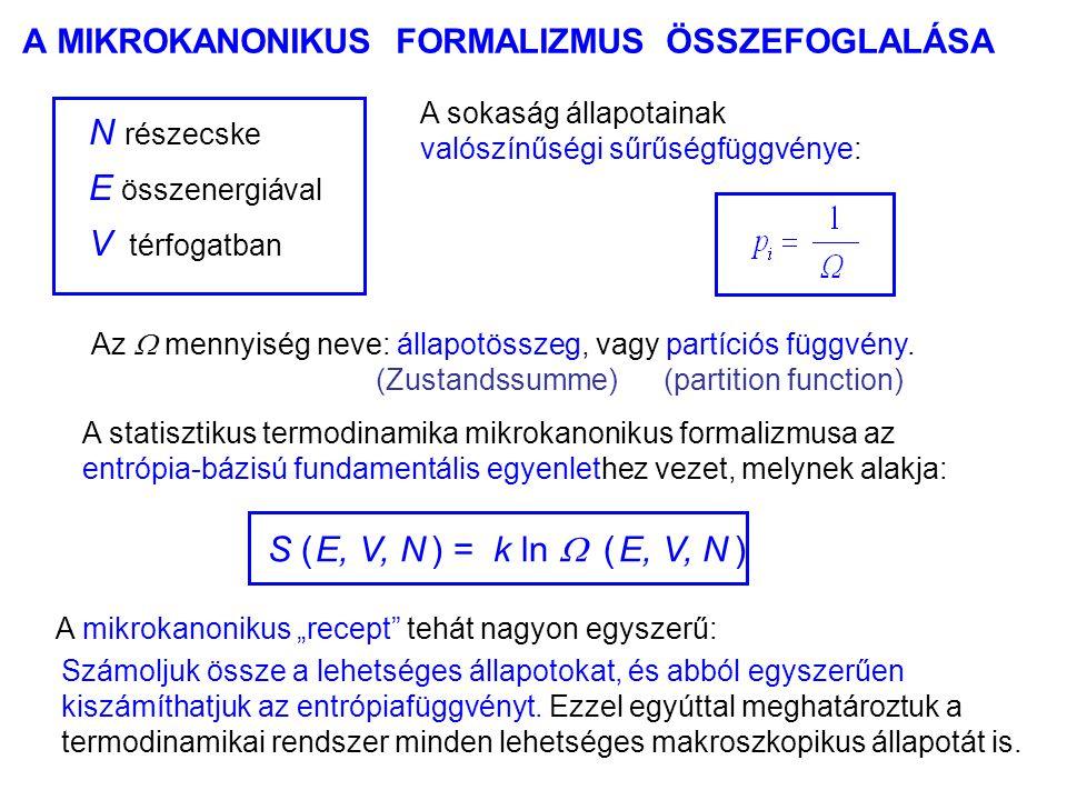 """A MIKROKANONIKUS FORMALIZMUS ÖSSZEFOGLALÁSA S ( E, V, N ) = k ln  ( E, V, N ) A mikrokanonikus """"recept"""" tehát nagyon egyszerű: Az  mennyiség neve: á"""