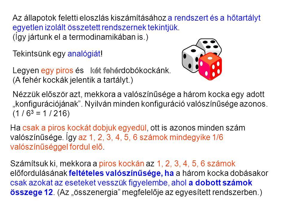 Ha csak a piros kockát dobjuk egyedül, ott is azonos minden szám valószínűsége. Így az 1, 2, 3, 4, 5, 6 számok mindegyike 1/6 valószínűséggel fordul e