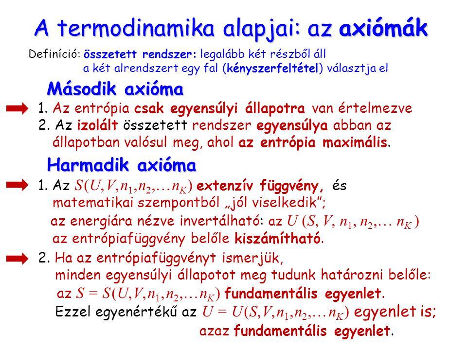 1. Az entrópia csak egyensúlyi állapotra van értelmezve 2. Az izolált összetett rendszer egyensúlya abban az állapotban valósul meg, ahol az entrópia