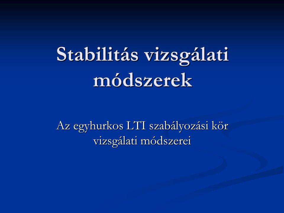 Stabilitás vizsgálati módszerek Az egyhurkos LTI szabályozási kör vizsgálati módszerei