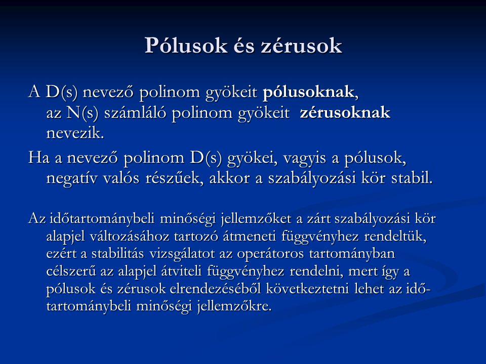 Stabilitás vizsgálat a zárt szabályozási kör átviteli függvénye alapján Stabil az egyhurkos szabályozási kör, ha a pólusai valósrésze negatív.