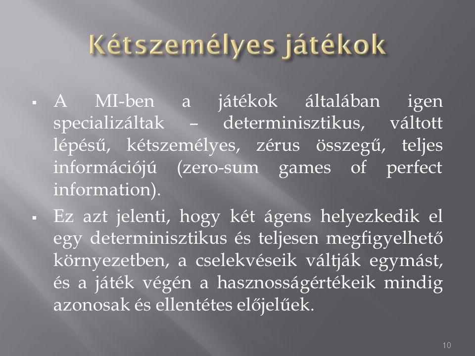  A MI-ben a játékok általában igen specializáltak – determinisztikus, váltott lépésű, kétszemélyes, zérus összegű, teljes információjú (zero-sum game