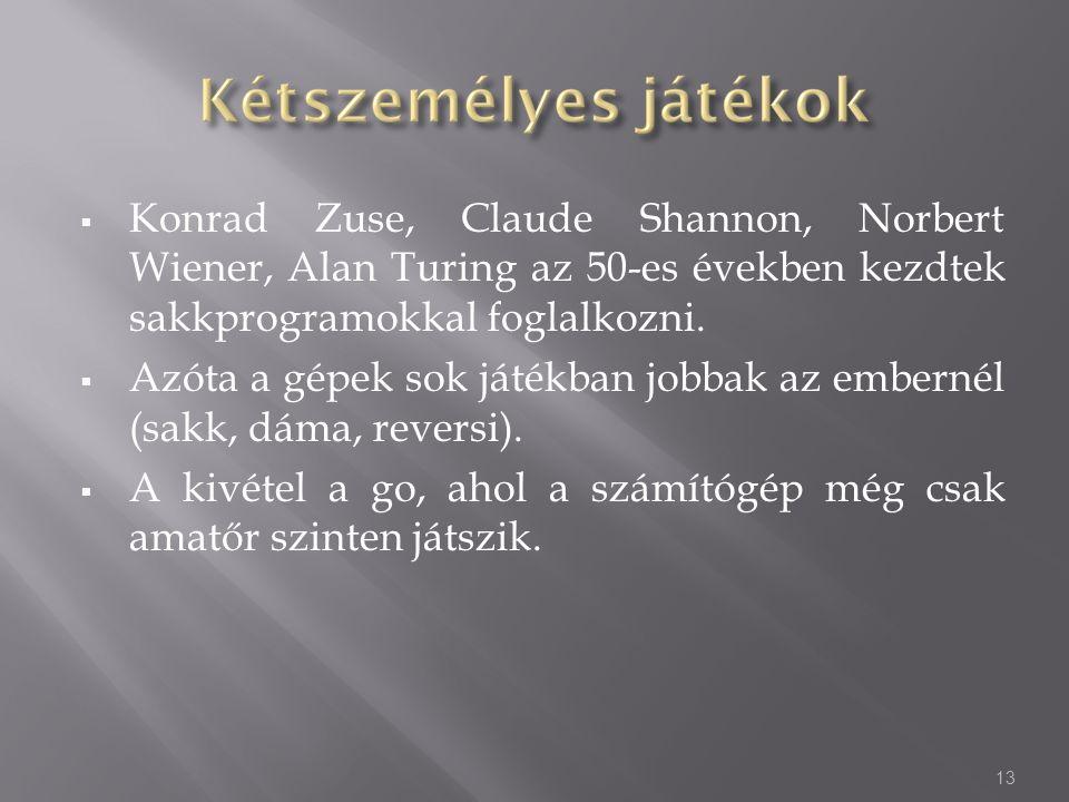  Konrad Zuse, Claude Shannon, Norbert Wiener, Alan Turing az 50-es években kezdtek sakkprogramokkal foglalkozni.  Azóta a gépek sok játékban jobbak