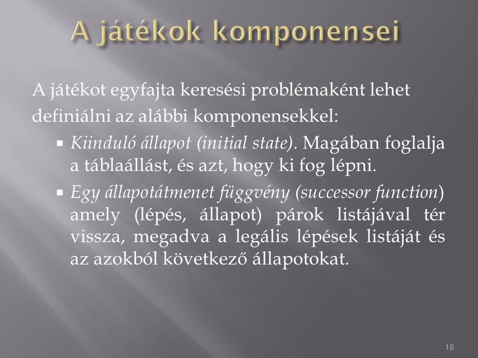 A játékot egyfajta keresési problémaként lehet definiálni az alábbi komponensekkel:  Kiinduló állapot (initial state). Magában foglalja a táblaállást
