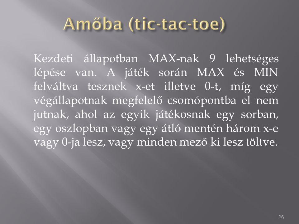 Kezdeti állapotban MAX-nak 9 lehetséges lépése van. A játék során MAX és MIN felváltva tesznek x-et illetve 0-t, míg egy végállapotnak megfelelő csomó