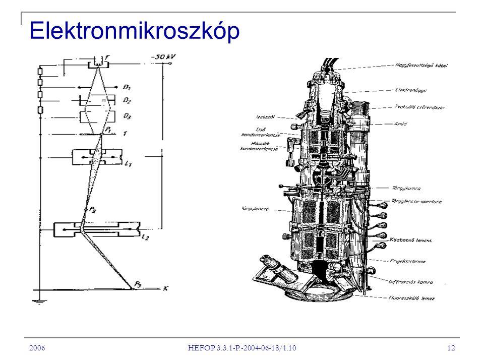 2006 HEFOP 3.3.1-P.-2004-06-18/1.10 12 Elektronmikroszkóp
