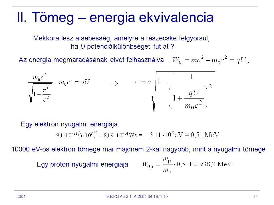 2006 HEFOP 3.3.1-P.-2004-06-18/1.10 14 II. Tömeg – energia ekvivalencia Mekkora lesz a sebesség, amelyre a részecske felgyorsul, ha U potenciálkülönbs