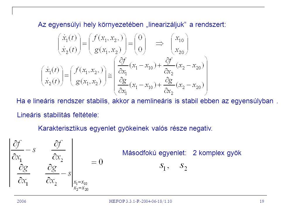 """2006 HEFOP 3.3.1-P.-2004-06-18/1.10 19 Az egyensúlyi hely környezetében """"linearizáljuk"""" a rendszert: Ha e lineáris rendszer stabilis, akkor a nemlineá"""