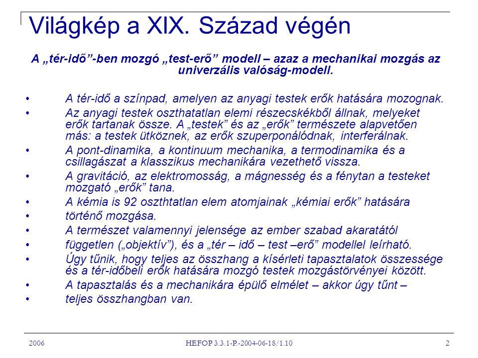 """2006 HEFOP 3.3.1-P.-2004-06-18/1.10 2 Világkép a XIX. Század végén A """"tér-idő""""-ben mozgó """"test-erő"""" modell – azaz a mechanikai mozgás az univerzális v"""