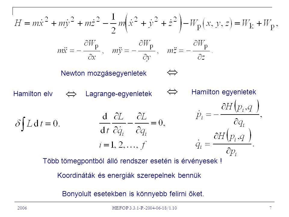 2006 HEFOP 3.3.1-P.-2004-06-18/1.10 7 Hamilton elvLagrange-egyenletek Hamilton egyenletek Newton mozgásegyenletek Több tömegpontból álló rendszer eset