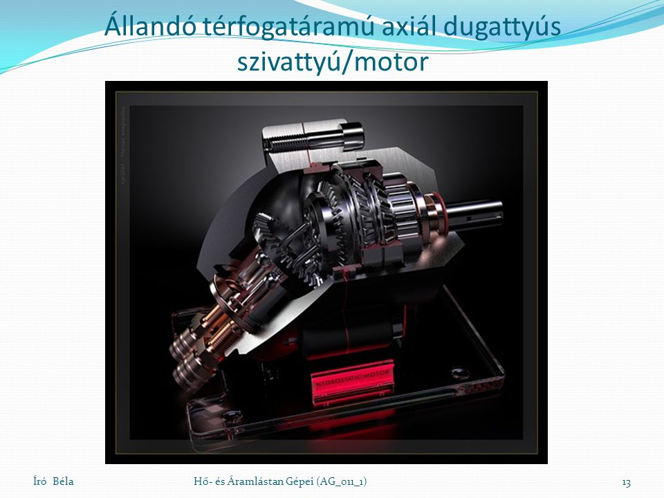 Író BélaHő- és Áramlástan Gépei (AG_011_1)13 Állandó térfogatáramú axiál dugattyús szivattyú/motor