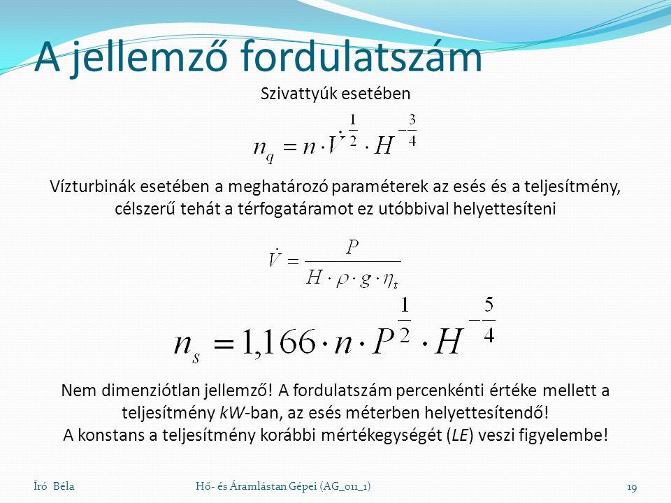 A jellemző fordulatszám Író BélaHő- és Áramlástan Gépei (AG_011_1)19 Nem dimenziótlan jellemző! A fordulatszám percenkénti értéke mellett a teljesítmé