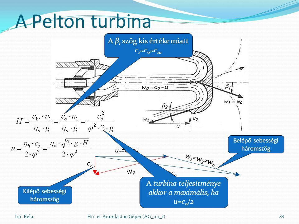 A Pelton turbina Író BélaHő- és Áramlástan Gépei (AG_011_1)28 u 1 =u 2 =u c 1 ≈c o w 1 ≈w 2 ≈w o c2c2 w2w2 A β 1 szög kis értéke miatt c 1 ≈c o ≈c 1u