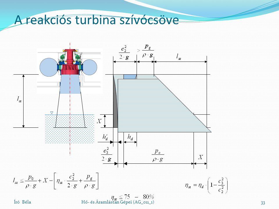 A reakciós turbina szívócsöve Író BélaHő- és Áramlástan Gépei (AG_011_1)33