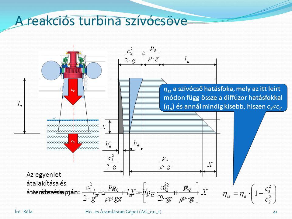 A reakciós turbina szívócsöve Író BélaHő- és Áramlástan Gépei (AG_011_1)41 c3c3 c2c2 Az ábra alapján: Az egyenlet átalakítása és átrendezése után: η s