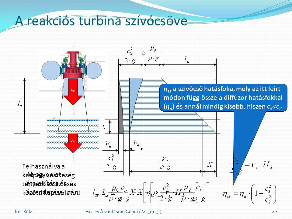 A reakciós turbina szívócsöve Író BélaHő- és Áramlástan Gépei (AG_011_1)42 c3c3 c2c2 Az egyenlet átalakítása és átrendezése után: η sz a szívócső hatá