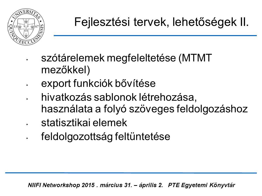 NIIFI Networkshop 2015. március 31. – április 2.PTE Egyetemi Könyvtár szótárelemek megfeleltetése (MTMT mezőkkel) export funkciók bővítése hivatkozás