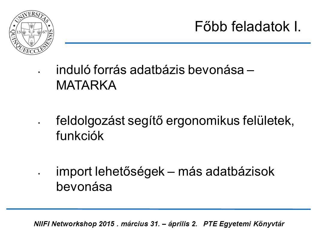 NIIFI Networkshop 2015. március 31. – április 2.PTE Egyetemi Könyvtár induló forrás adatbázis bevonása – MATARKA feldolgozást segítő ergonomikus felül