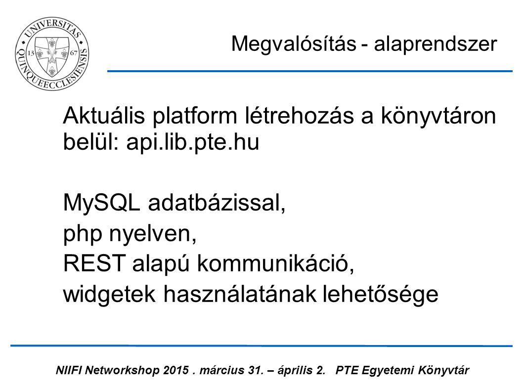 NIIFI Networkshop 2015. március 31. – április 2.PTE Egyetemi Könyvtár Aktuális platform létrehozás a könyvtáron belül: api.lib.pte.hu MySQL adatbáziss