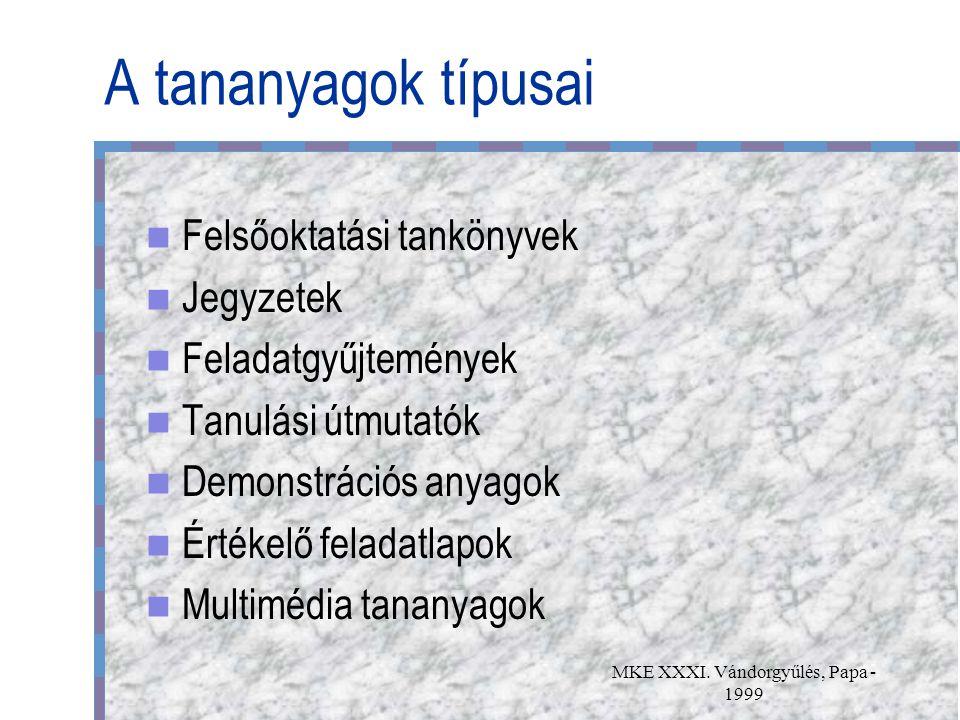 MKE XXXI. Vándorgyűlés, Papa - 1999 A tananyagok típusai Felsőoktatási tankönyvek Jegyzetek Feladatgyűjtemények Tanulási útmutatók Demonstrációs anyag