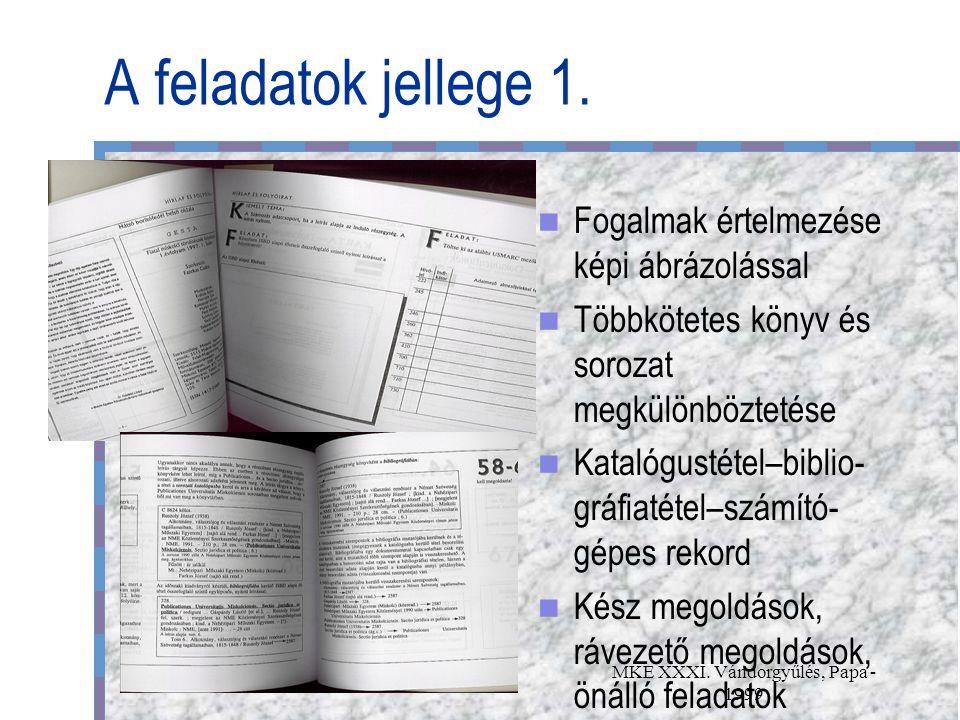MKE XXXI. Vándorgyűlés, Papa - 1999 A feladatok jellege 1.