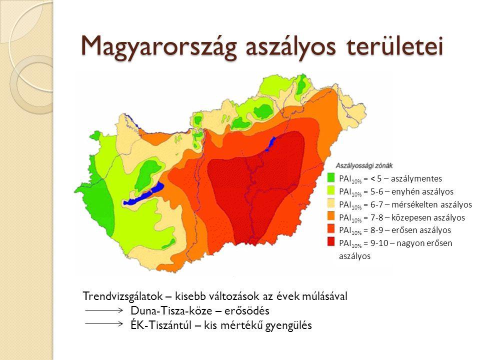 Magyarország aszályos területei PAI 10% = < 5 – aszálymentes PAI 10% = 5-6 – enyhén aszályos PAI 10% = 6-7 – mérsékelten aszályos PAI 10% = 7-8 – köze