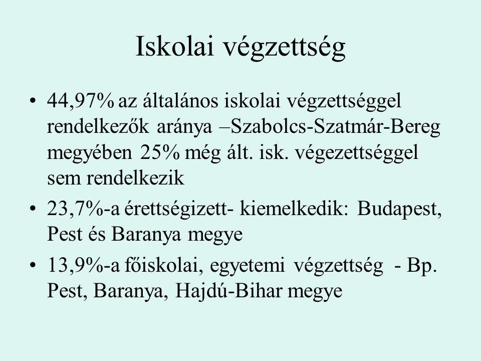 Iskolai végzettség 44,97% az általános iskolai végzettséggel rendelkezők aránya –Szabolcs-Szatmár-Bereg megyében 25% még ált. isk. végezettséggel sem
